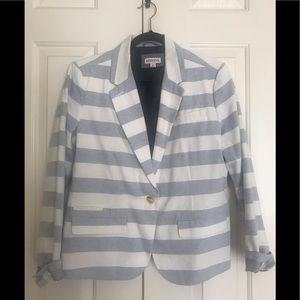 Merona Striped Blue/White Blazer (Size 16)